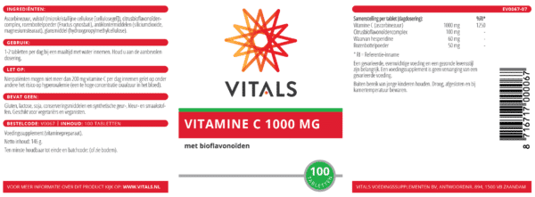 Vitamine C - 1000 mg - 100 tabletten etiket