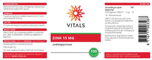Zink 15 mg 100 capsules etiket